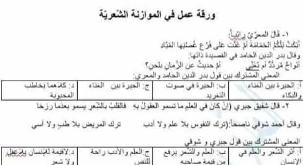 تاسع عربي ورقة عمل في الموازنة الشعرية بين بيتين