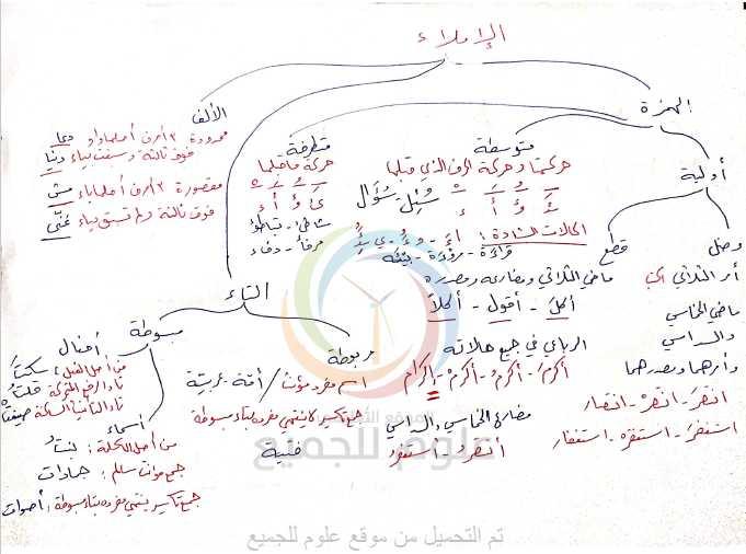 مراجعة الإملاء والصرف اللغة العربية الصف التاسع