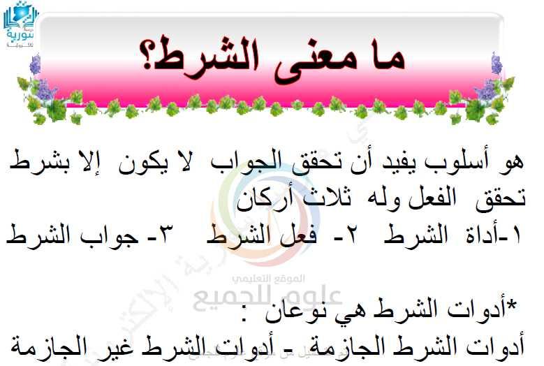الشرح الكامل لأسلوب الشرط الجازم وغير الجازم اللغة العربية الصف التاسع