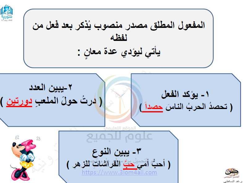 المفعول المطلق اللغة العربية الصف التاسع