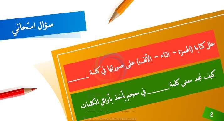 مراجعات في الإملاء اللغة العربية الصف التاسع