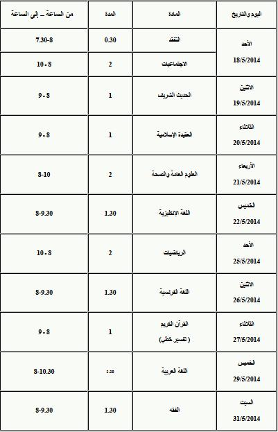 برنامج امتحان التاسع الشرعي سوريا 2014