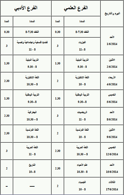 برنامج امتحان البكالوريا سوريا 2014