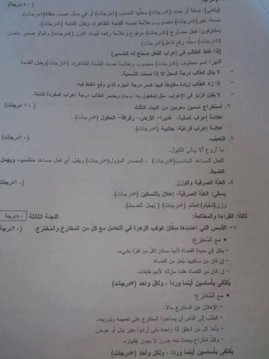 سلم تصحيح مادة اللغة العربية التكميلية 2013 - باكلوريا علمي سوريا