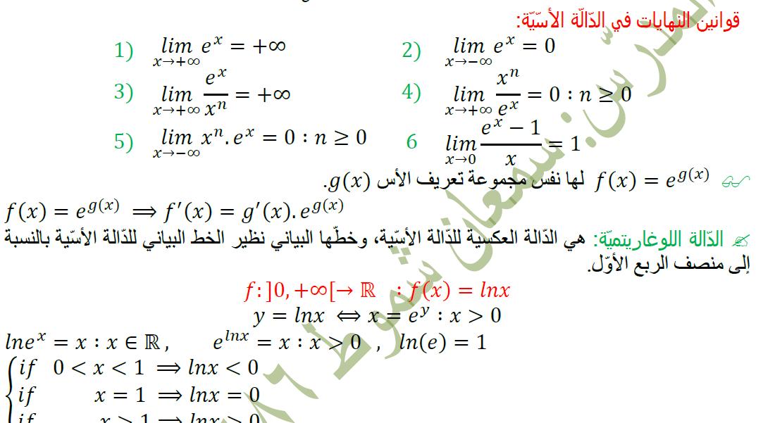 ملخص رياضيات لطلاب الصف الثالث الثانوي العلمي - البكالوريا سوريا