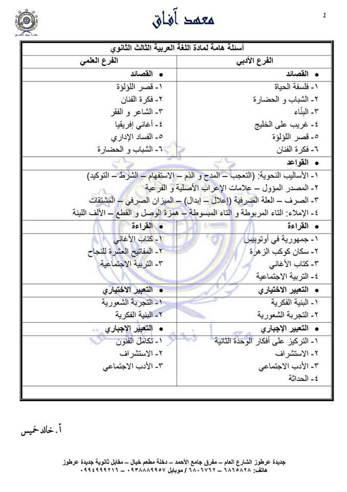الاسئلة الهامة و المتوقعة لمادة اللغة العربية الفرع العلمي و الأدبي