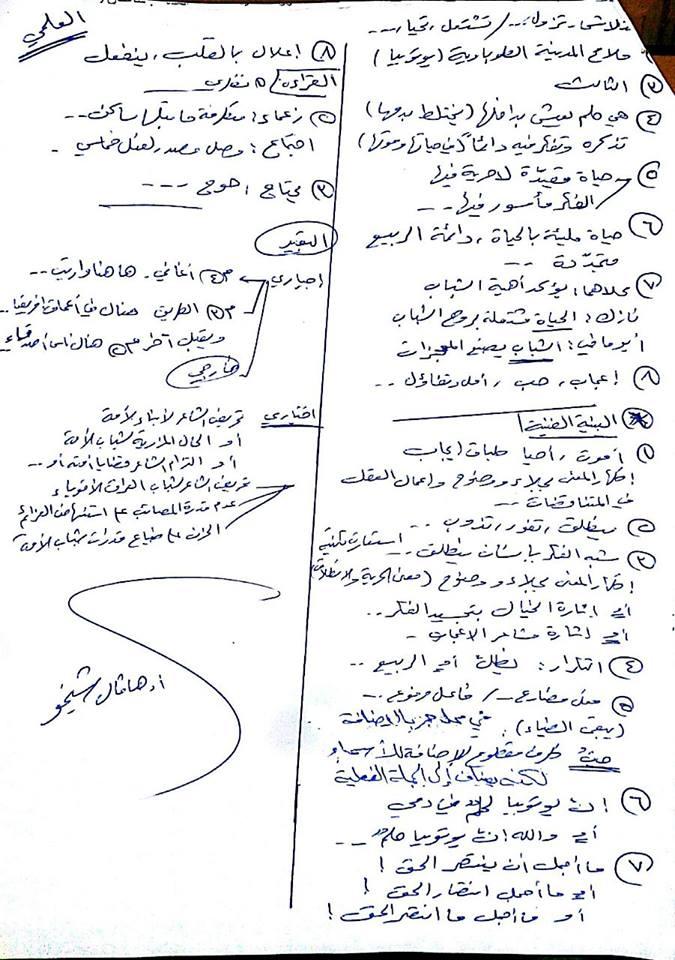 حل اسئلة العربي البكالوريا الدورة الثانية 2014 سوريا العلمي و الأدبي