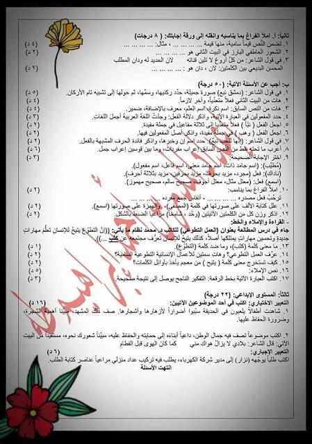 عربي ثامن - نموذج اختبار بمادة اللغة العربية للصف الثامن الأساسي