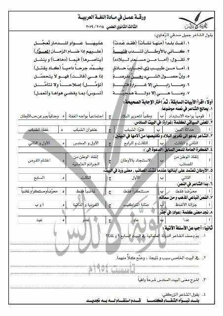 بكالوريا عربي - ورقة عمل بقصيدة الشاعر الزهاوي
