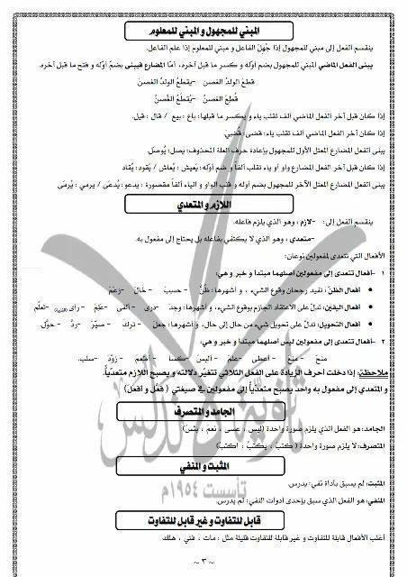 عربي تاسع - ملاحظات هامة لطلاب شهادة التعليم الاساسي بالعربي