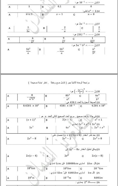 أسئلة اختر الإجابة الصحيحة للوحدتين الأولى والثانية من كتاب الجبر للصف التاسع