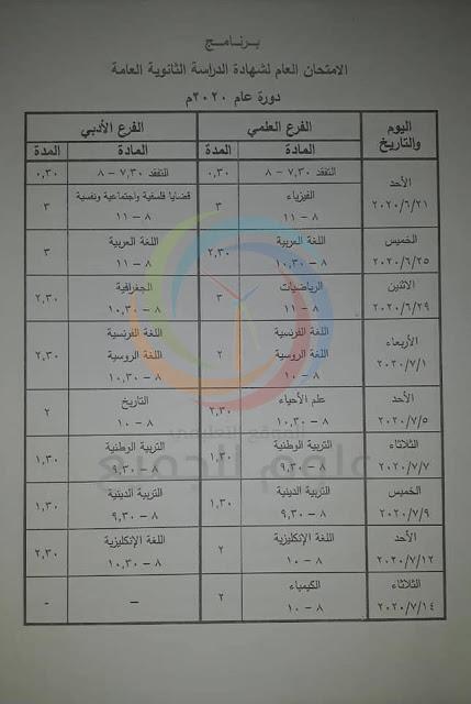 البكالوريا 2020 سوريا - برنامج امتحان البكالوريا سوريا 2020 المعدل الشهادة الثانوية