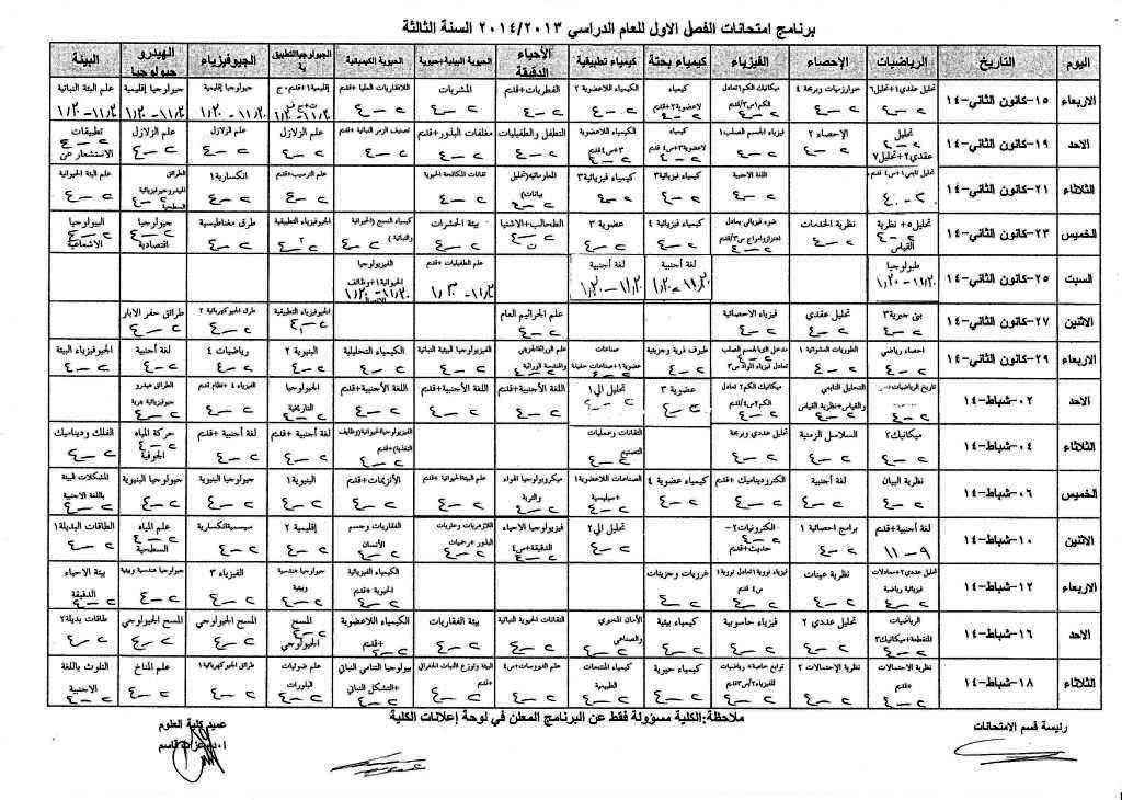 برنامج امتحان الفصل الأول للعام الدراسي 2013 - 2014 جامعة دمشق كلية العلوم