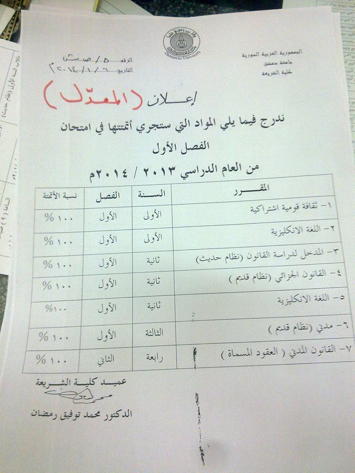 كلية الشريعة بدمشق : المواد التي ستجري أتمتها في امتحان الفصل الاول