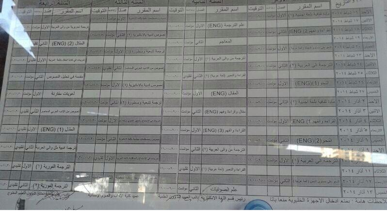 التعليم المفتوح بدمشق : برنامج امتحان كلية الترجمة جامعة دمشق